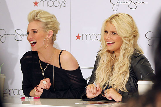 Jessica and Ashlee Simpson at a Macy's event
