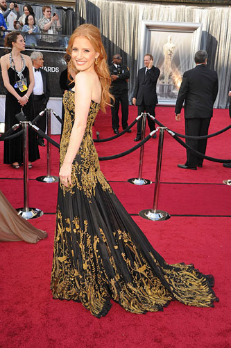 Jessica Chastain in Alexander McQueen at the 2012 Academy Awards