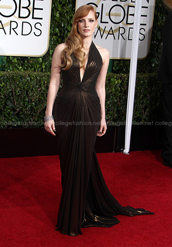 Jessica Chastain Golden Globes 2015 in Atelier Versace