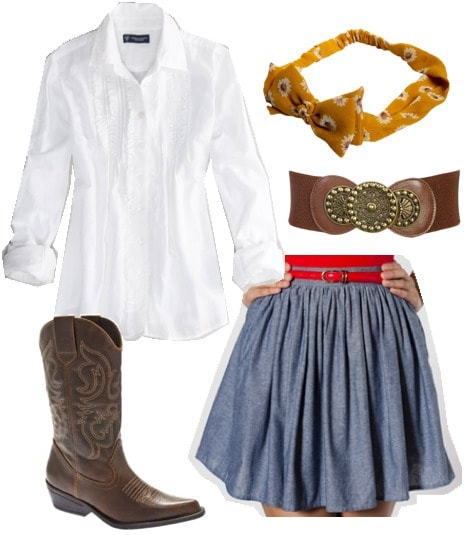 Outfit inspired by Jessie from Disney Pixar's Toy Story: Chambray skirt, white button-down shirt, cowgirl boots, leather belt, yellow headband