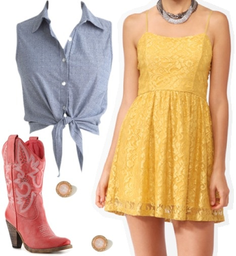 Outfit inspired by Jessie from Disney Pixar's Toy Story: Yellow lace dress, chambray sleeveless top, red cowboy boots, stud earrings