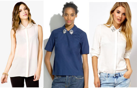 Jewel collar blouses