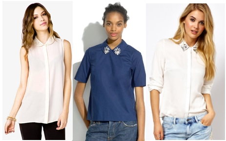 Jewel collar blouses