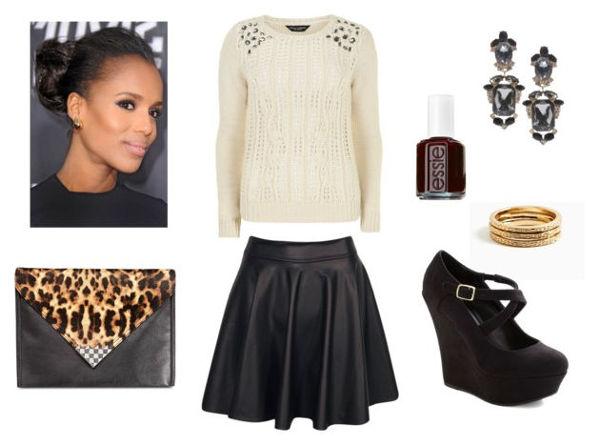 Jewel sweater leather skirt