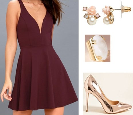 Outfit idea for New Year's Eve: Metallic heels, pink and pearl earrings, burgundy dress