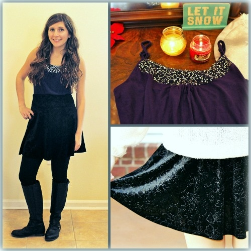 Jewel tone top and velvet skater skirt