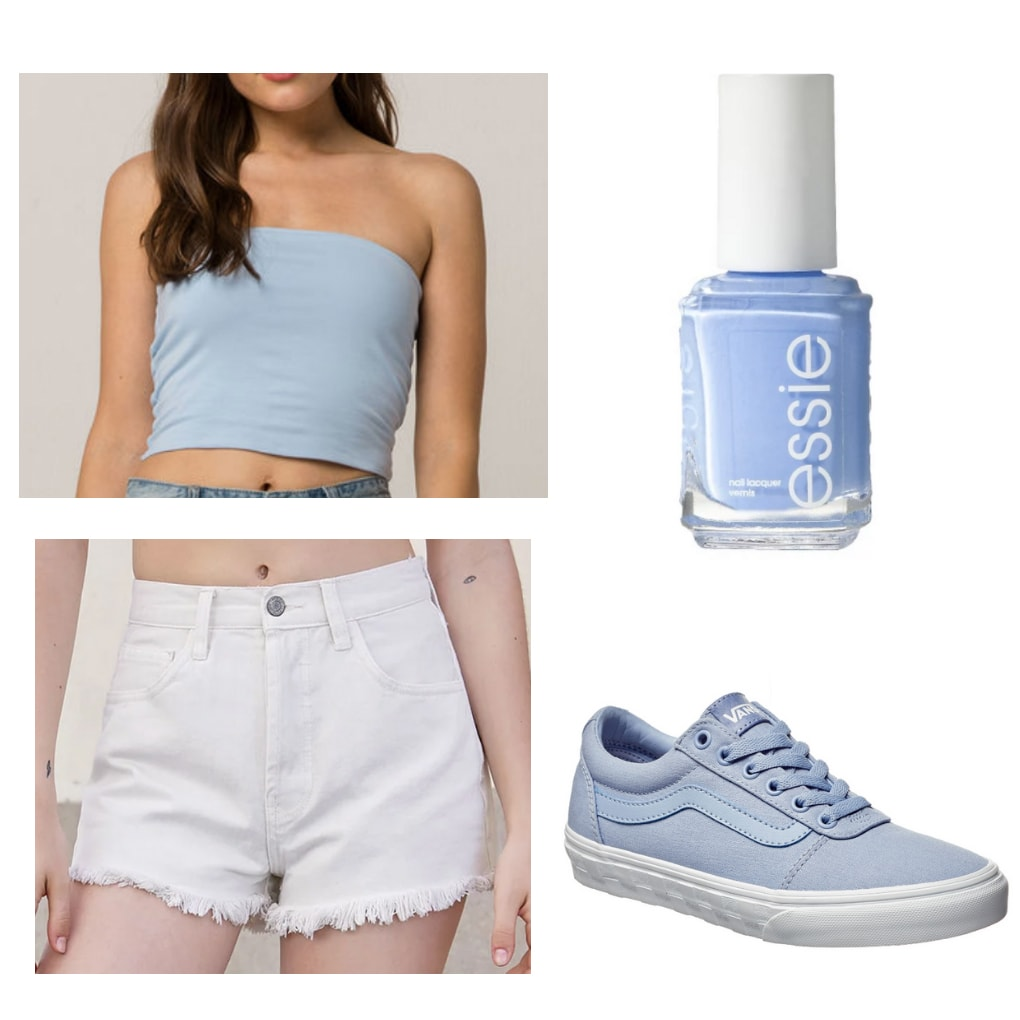 Outfit inspired by Jlo in the 1990s: Light blue tube top, jean shorts, sneakers, light blue nail polish