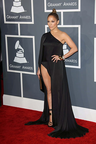 Jennifer Lopez in Anthony Vaccarello at the 2013 Grammys