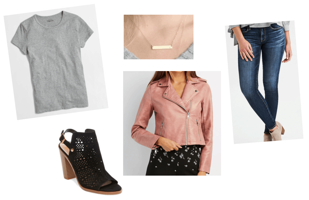Outfit inspired by Joanna Gaines style: Pink moto jacket, blue jeans, gray tee shirt, gold bar necklace, black heels