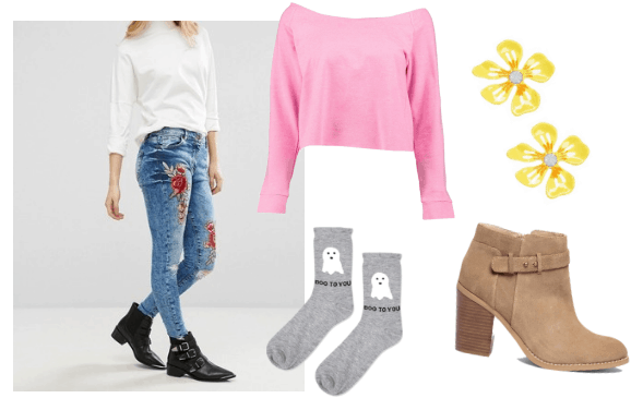 Outfit inspired by young jodie from beyond two souls video game: rose embroidered jeans, yellow flower earrings, pink sweater, gray cartoon ghost socks, beige ankle boots