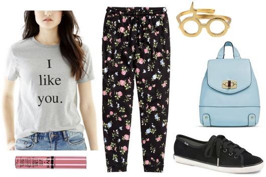 Joe fresh tee, floral print pants, sneakers
