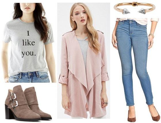 Joe fresh tee, jeans, boots, blush pink jacket