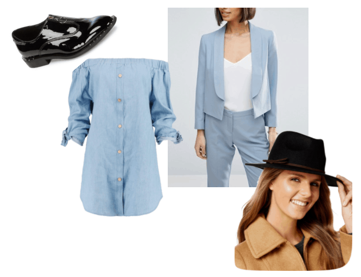 Outfit inspired by Joey Mallone from Blackwell video game series: black fedora, black patent leather oxfords, off the shoulder chambray dress and light blue blazer
