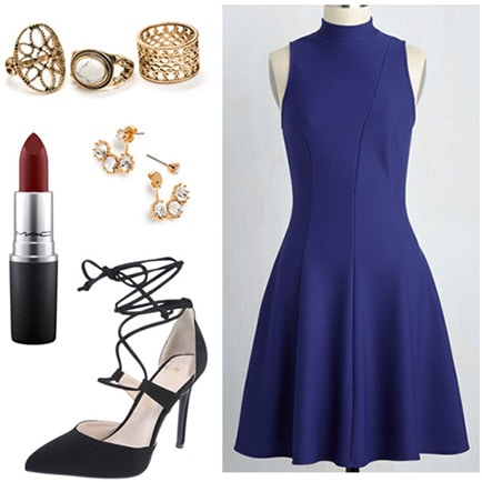Outfit inspired by author John Green and Looking for Alaska: Blue dress, strappy heels, red lipstick, gold jewelry