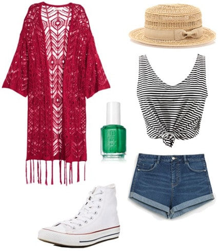 Outfit inspired by author John Green: Red kimono top, green nail polish, denim shorts, crop top, hat, Converse