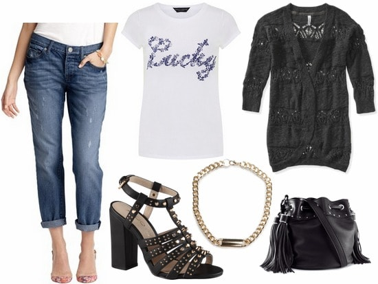 Juicy couture inspired outfit boyfriend jeans, graphic tee, lace cardigan