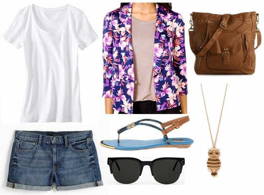 Juicy couture inspired outfit cutoffs, white tee, floral jacket