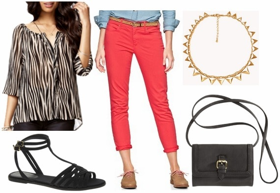 Juicy couture inspired outfit red trousers, zebra print blouse, sandals
