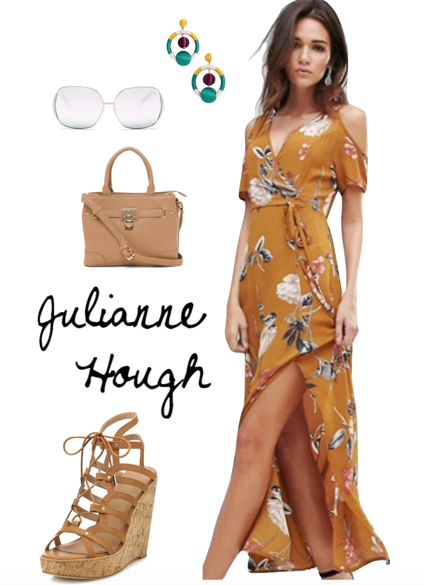 Julianne Hough Outfit: tan floral maxi dress, colorful drop earrings, oversized sunglasses, camel mini satchel bag, tan lace-up wedge sandals