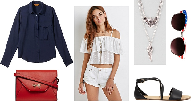 Fourth of July outfit - Navy blouse, white shorts, red cross-body, sandals, eagle necklace