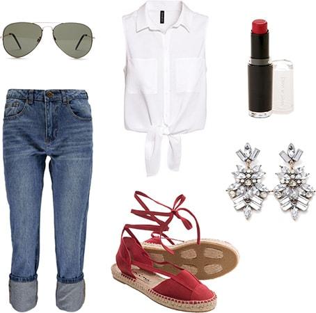 Fourth of July outfit under $100 - Boyfriend jeans, tied blouse, espadrilles, chandelier earrings, aviators