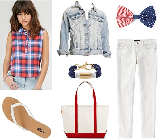 Preppy Fourth of July outfit - Plaid blouse, white jeans, crochet flip flops, canvas tote, hair bow, denim jacket