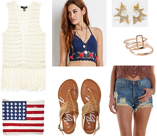 Boho chic Fourth of July outfit -Fringe vest, cutoff shorts, crochet halter top, rings, sandals, american flag clutch