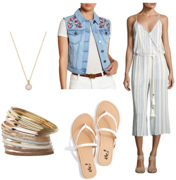 Chill and beachy outfit with a jumpsuit: Striped wrap jumpsuit in light blue and white, white strappy sandals, denim vest with embroidery, gold jewelry