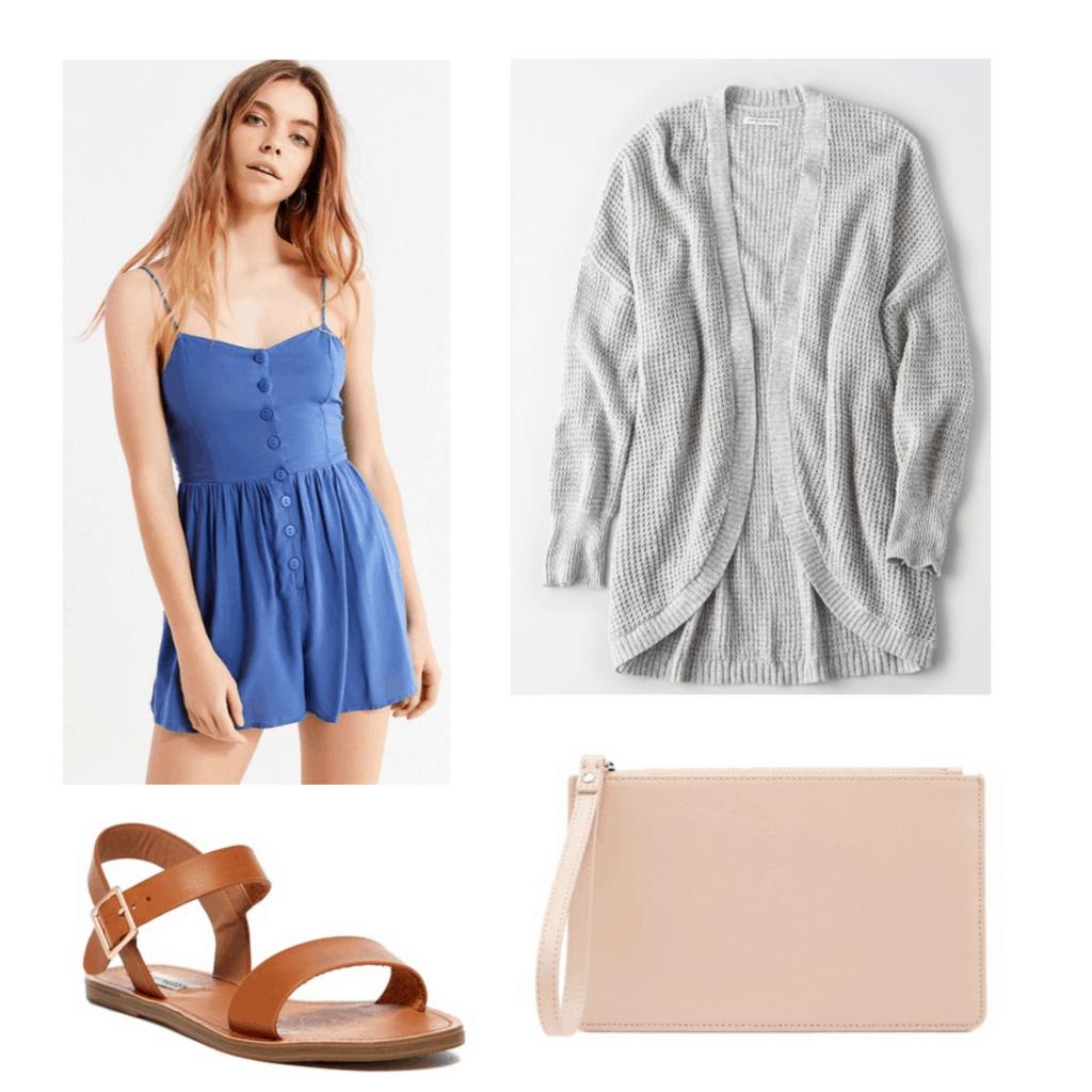 blue romper, gray cardigan, peach wristlet, brown sandals