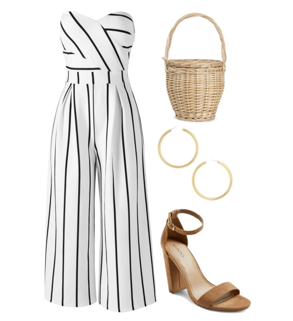Polyvore set including: a striped jumpsuit, a wicker basket bag, gold hoop earrings, and nude colored block heels.