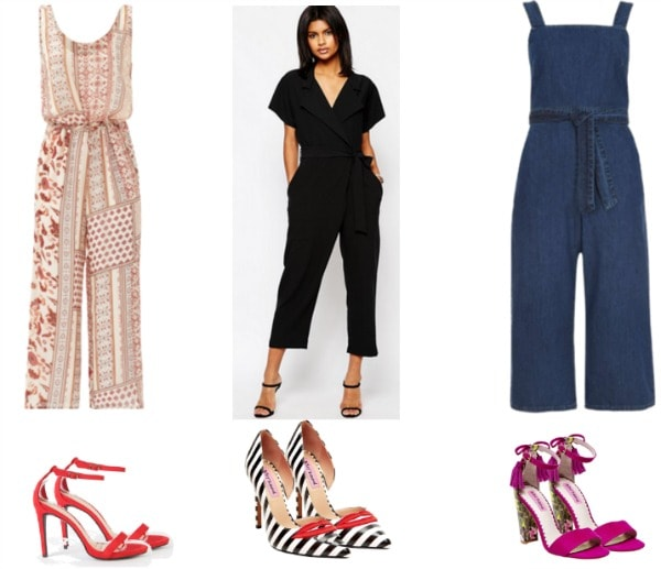 jumpsuits paired with statement shoes