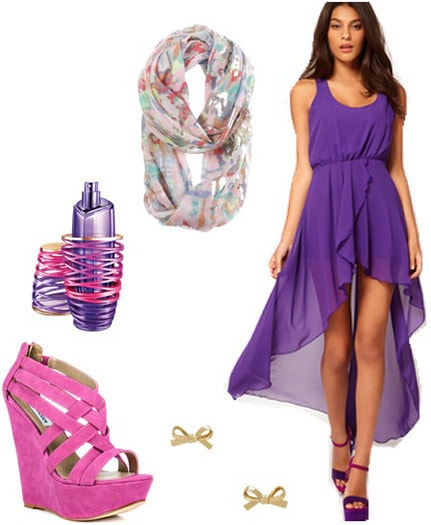 """Outfit inspired by Justin Bieber's """"Girlfriend"""" fragrance ads - Purple dress, pink wedges, scarf, earrings"""