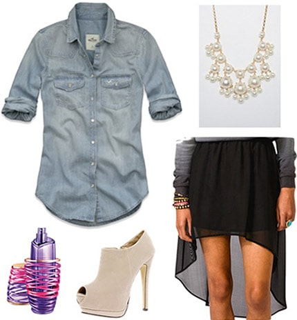 """Outfit inspired by Justin Bieber's """"Girlfriend"""" fragrance ads - Chambray shirt, high-low skirt, statement necklace, ankle boots"""