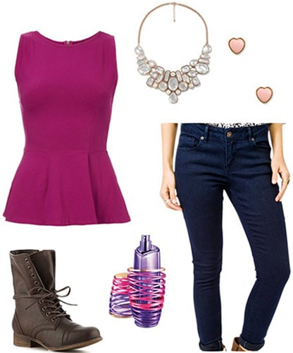 """Outfit inspired by Justin Bieber's """"Girlfriend"""" fragrance ads - Peplum top, skinny jeans, cute necklace, lace-up boots"""