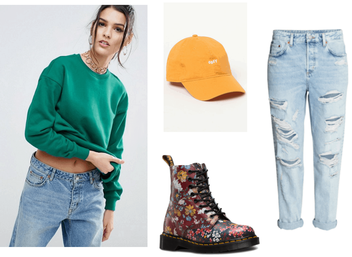 Green crew neck sweatshirt, ripped boyfriend jeans, yellow hat, floral docs