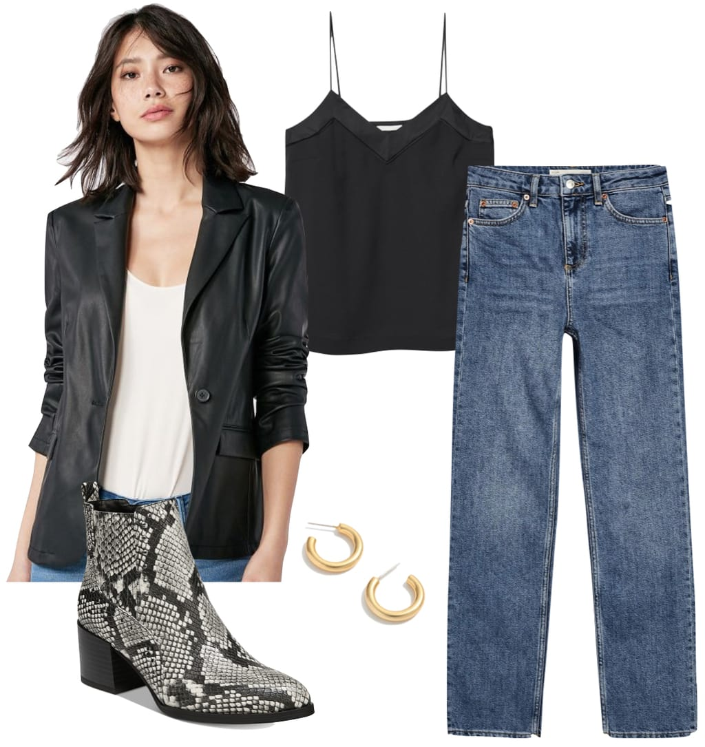 Kaia Gerber Outfit: faux leather blazer, black camisole top, straight leg jeans, mini gold hoop earrings, and faux snakeskin ankle booties