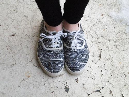 Wesleyan University street style - printed sneakers