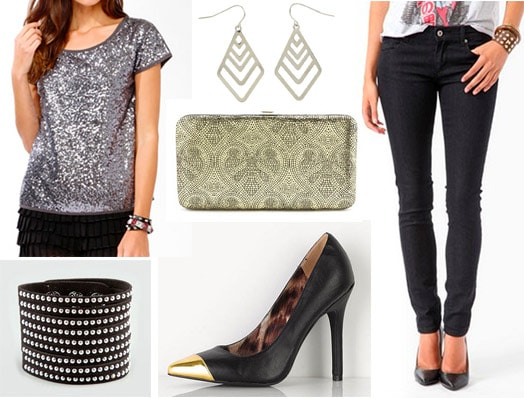 Karaoke night outfit: Black jeans, mixed metallic accessories, sequin top