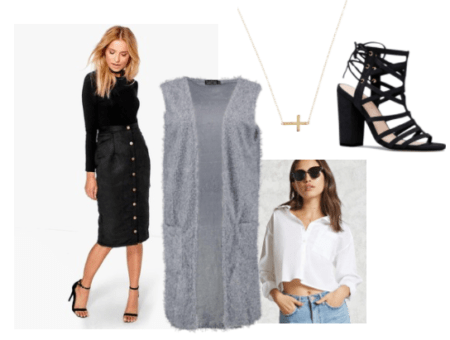 Life is Strange fashion: Outfit inspired by the character Kate Marsh from the video game. Includes black button-front midi skirt, white cropped blouse, long sleeveless cardigan, sideways cross necklace, lace-up heels