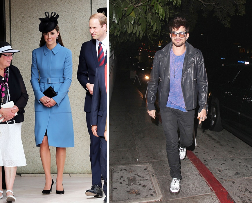 Kate Middleton in a blue coat and Adam Lambert in a leather jacket and sunglasses