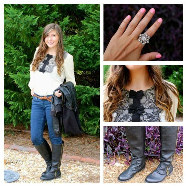 Kate middleton inspired outfit lace top, jeans, riding boots