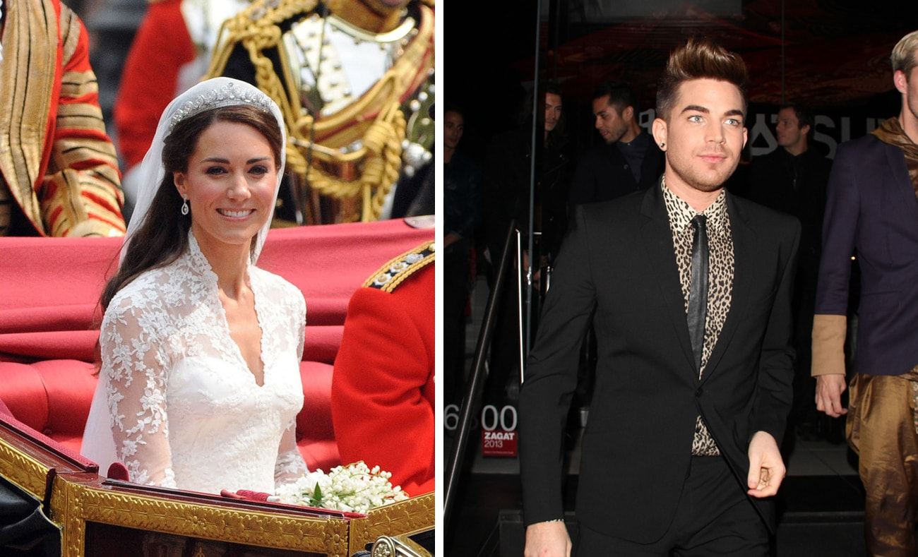 Kate Middleton on her wedding day and Adam Lambert in a black suit