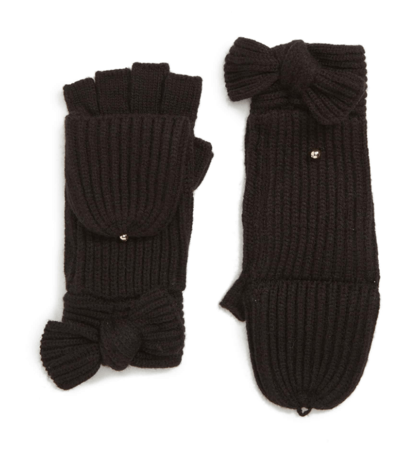 Kate Spade convertible mittens in black
