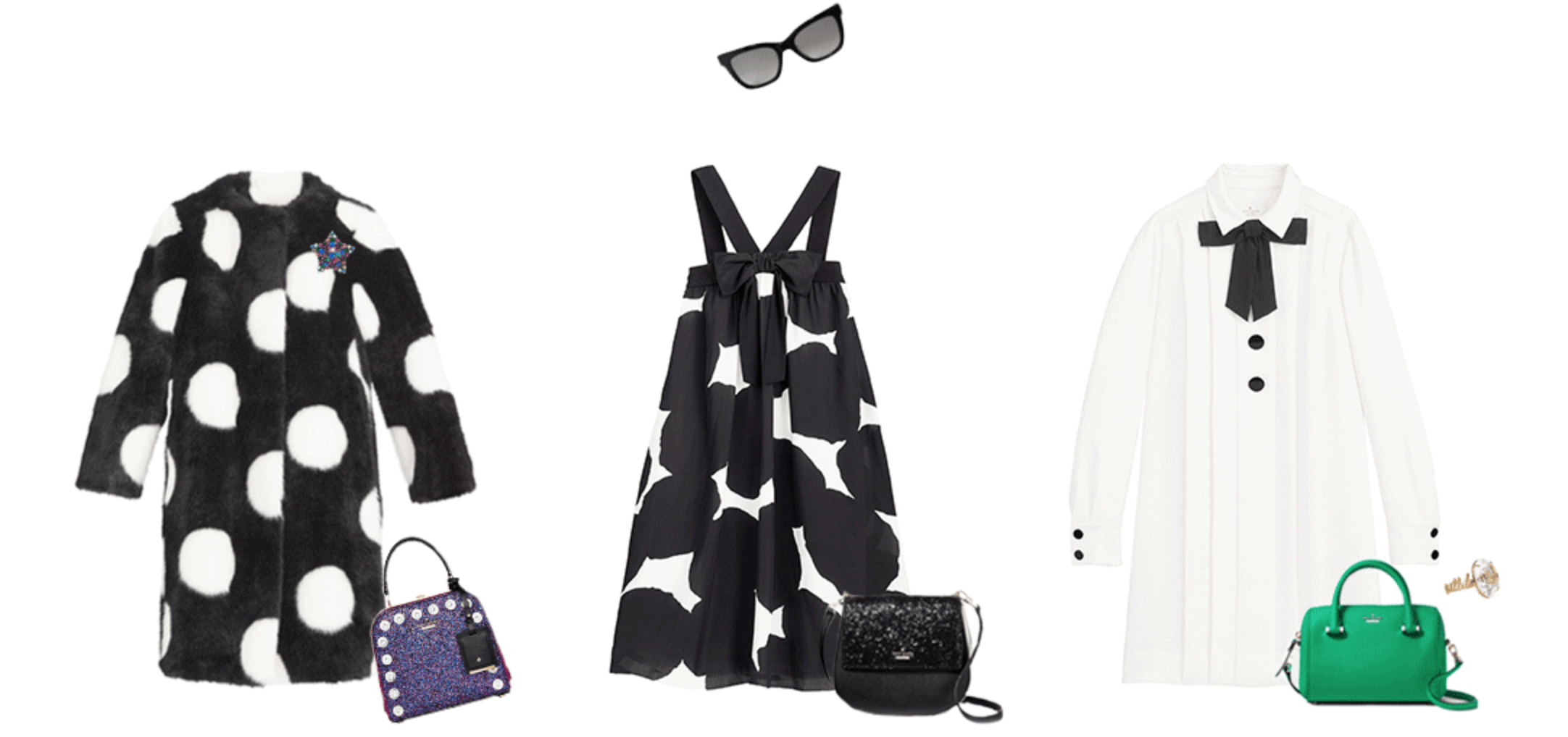 Kate Spade Missadventure outfits: Black and white coat, black and white dot dress, white shirtdress with a green bag