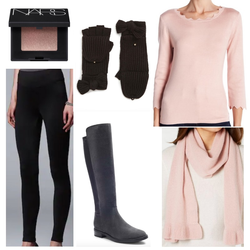 How to style black mittens: Black leggings, boots and gloves, pink eyeshadow, sweater and scarf.