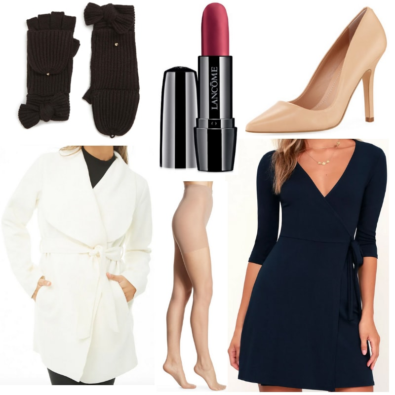 What to wear with black mittens: Navy blue dress, white coat, black gloves, red lipstick, nude heels and tights.