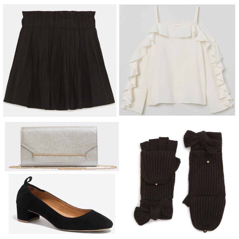 How to style black mittens: White top, silver clutch, black gloves, shoes and skirt.