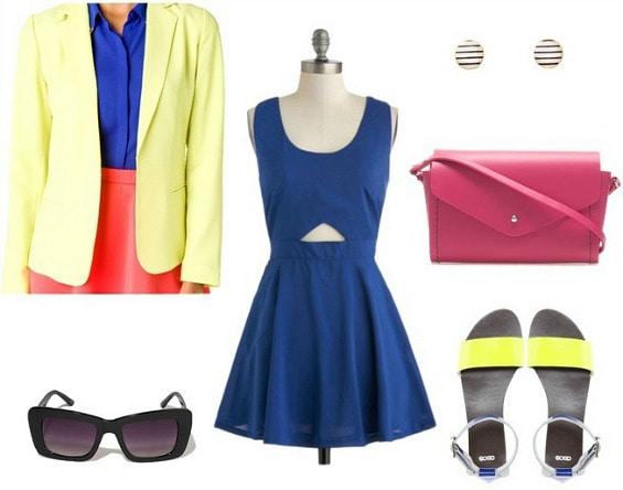 Kate Spade Saturday blue dress citron blazer outfit