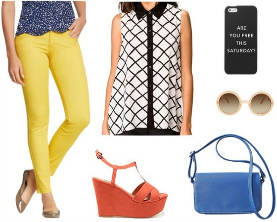 Kate Spade Saturday graphic blouse yellow jeans outfit