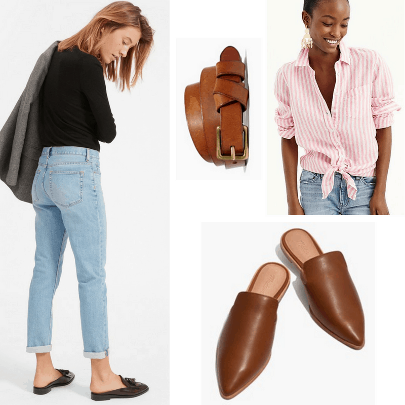Katharine Hepburn style: Outfit inspired by Katharine Hepburn with boyfriend jeans, tie-front menswear top, slip-on oxfords, belt